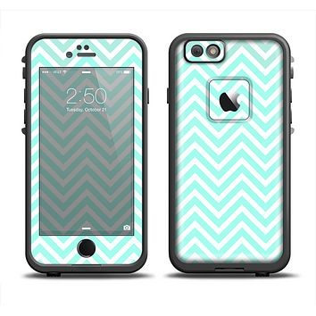 The Light Teal & White Sharp Chevron Apple iPhone 6 LifeProof Fre Case Skin Set