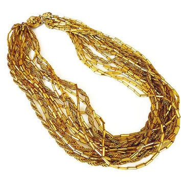 Miriam Haskell Necklace, Torsade Necklace, Gold Metallic, Glass Beads, Multi Strand, Twist Rope, Chains, Vintage Jewelry