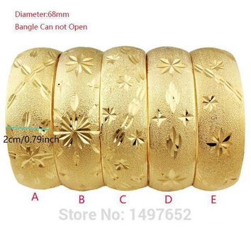 Newest Big Wide Ethiopian Bangle / Gold Color Bangles&bracelets Dubai African Men Women Jewelry