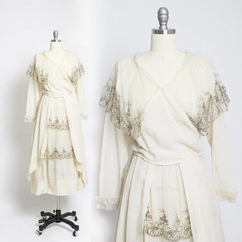 Vintage Edwardian Dress - Silk Chiffon Silver Lace 1910s Tea Gown Wedding Dress - Small