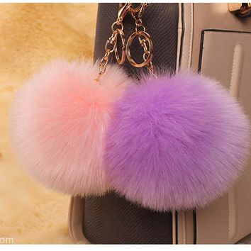 2017 New Fluffy porte clef pompom de Fourrure women pompon Pom Pom Keychain Fox Fur Ball gold Key Chain Rings llavero Bag Gift