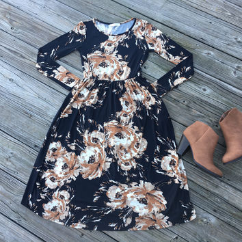 Black Floral Midi Dress with Cinched Waist