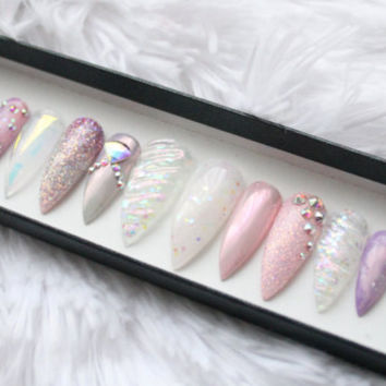 Unicorn Press on Nails | Sculpted Horn | Ombre | Holographic Glitter | Swarovski | Chrome | Nail Art | False Nails | Glue On Nails