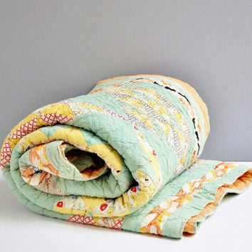 Vintage Hand-Stitched Mint Green Feed Sack Quilt