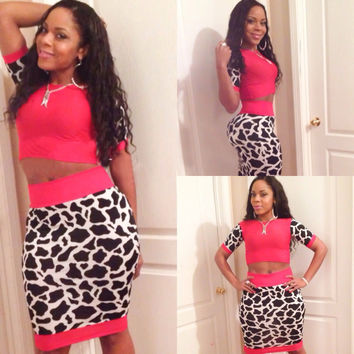 Pink Animal Print Short Sleeve Cropped Top and Midi Skirt Set
