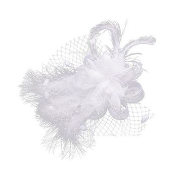 ONETOW 1pcs White Birdcage Net Wedding Bridal Fascinator Face Veils Feather Flower with Hairpins