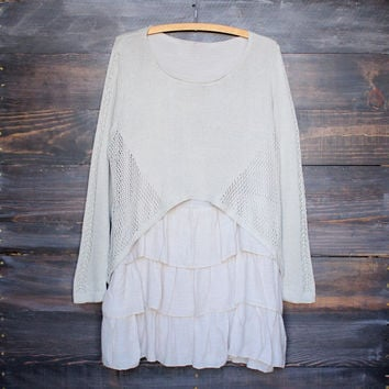 open knit cozy sweater tunic with ruffle hem , taupe