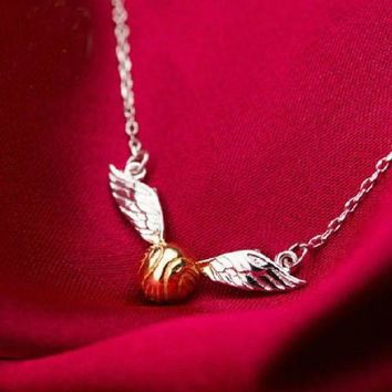 DCCKFV3 Harry Potter/Quidditch match/Golden Snitch necklace/ silver 925 necklace/ movie products.