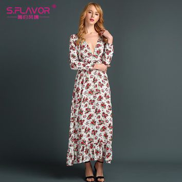 Autumn fashion casual long sleeve V-neck waist flower printing cotton sexy dress with cascading ruffle