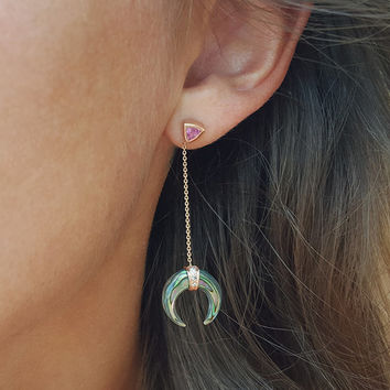 Rose Gold Drop Earrings, Abalone Earrings, Double Horn Earrings, Diamond Drop Earrings, Sapphire Earrings, Delicate Drop Earrings
