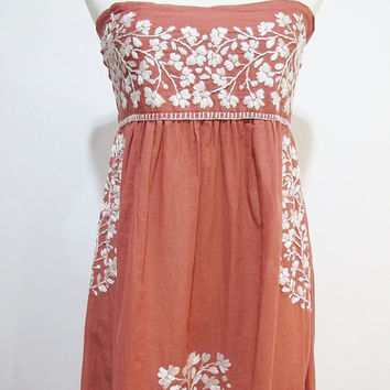 Mexican Embroidered Sundress Strapless