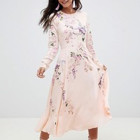 ASOS DESIGN midi dress with pretty floral and bird embroidery at asos.com