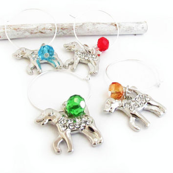 Wine Glass Charms, Wine Charm Set, Dog Wine Charms, Hostess Gift, Pet Wine Charms, Crystal Wine Charms, Wine Accessories, Wine Gift