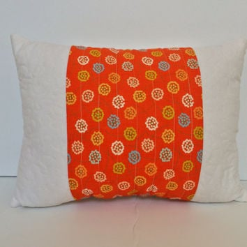 Summer pillow, Spring quilted pillow, decorative pillow, quilted pillow