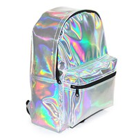 Zicac Girl's Sliver Holographic Laser Leather School Backpack Travel Casual Daypack