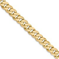 Men's 7.25mm 14k Yellow Gold Beveled Solid Curb Chain Necklace