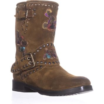 FRYE Nat Flower Engineer Mid Calf Studded Boots, Wheat, 8.5 US