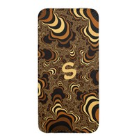 Cool brown stripped fractal. Monogram. iPhone SE/5/5s/5c Pouch
