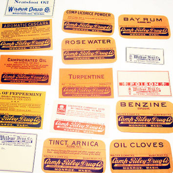 Vintage Unused Apothecary Labels, ca 1930s, Vintage Art Supplies, Paper Ephemera, Lot of 15
