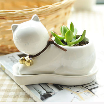 Cute White Animal Cat Shape Ceramic Planter Container - Succulent Pot - Air Plant Container