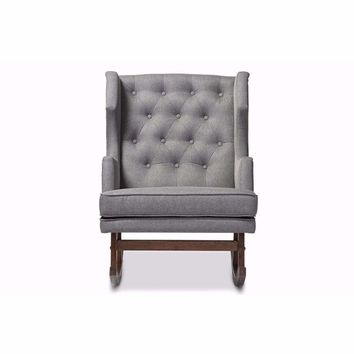 Iona Mid-century Grey Fabric Upholstered Button-tufted Wingback Rocking Chair By Baxton Studio
