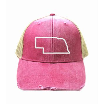 Nebraska Hat - Distressed Snapback Trucker Hat - Nebraska State Outline - Many Colors Available