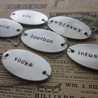 Custom Hand Stamped Decanter Tag - Large