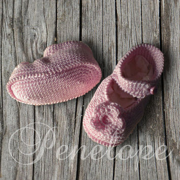 Baby shoes crochet handmade pink cotton by deepblue22at on Etsy