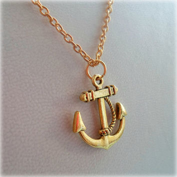 Anchor Necklace - Gold Plated, Simple Everyday Style