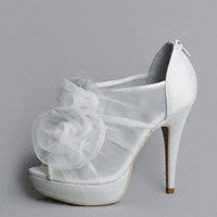 Platform Shoe with Organza Flowers - David's Bridal
