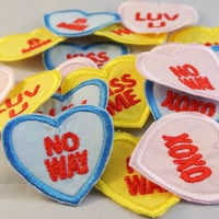 Heart Patches Candy Sweetheart Style Pink Blue and Yellow Luv U Kiss Me XOXO Hearts