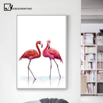 Watercolor Flamingo Posters and Prints Minimalist Wall Art Canvas Painting Decorative Wall Picture for Living Room  Home Decor