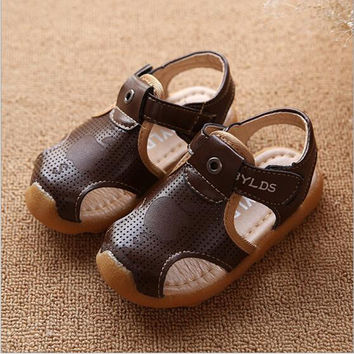 2016 Summer New Arrival Boys Beach Sandals PU Leather Hollow Out Children Flat Shoes Anti-slip Baby Sandals