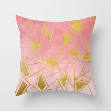 Geometric pink & gold pattern Throw Pillow by vivigonzalezart