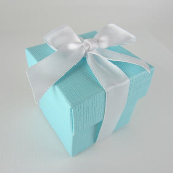 Tiffany Blue Favor Boxes with Ribbon Set of 25 by favorsandgifts