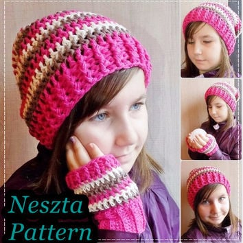 Crochet pattern, crochet slochy hat pattern, 2in1 scarf, crochet Fingerless Gloves pattern, crochet set pattern, toddler, child, teen, adult
