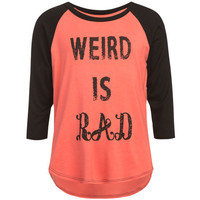 Full Tilt Weird Is Rad Girls Baseball Tee Coral Combo  In Sizes