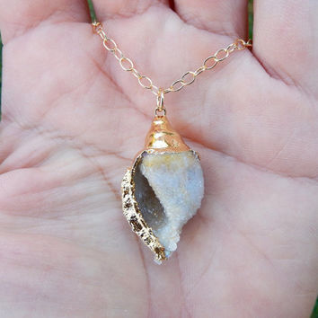 Fossilized Druzy Shell Necklace 24K Gold Crystalized Drusy Seashell Fossil Pendant- Free Shipping OOAK Jewelry