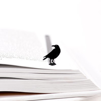 Bookmark RAVEN  laser cut metal powder coated black Stylish unique gift for book lover Free shipping.