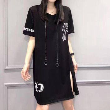 DCCKXT7 Chrome Hearts' Fashion Personality Retro Letter Pattern Print Short Sleeve T-shirt Split Mini Dress