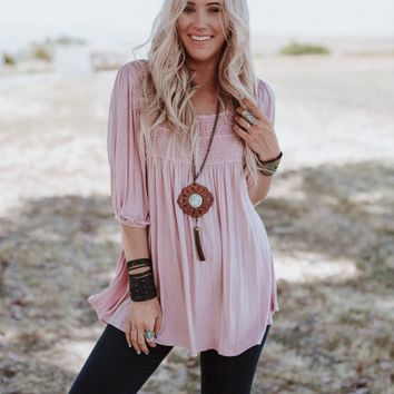 Day Away Crochet Tunic Top - Pink