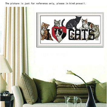 Fashion Home Decoration DIY Handmade Needlework Counted Cross Stitch Set Embroidery Kit 14CT Love Cats Pattern Cross-Stitching 40 * 21cm Sewing Kits = 1929977732