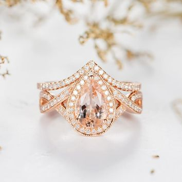 Morganite Engagement Ring Bridal Set Pear Shaped Halo Ring
