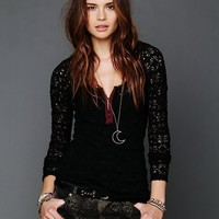 Free People Candy Lace Layering Placket Top