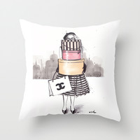 Shopping Junkie Throw Pillow by Anna Hammer