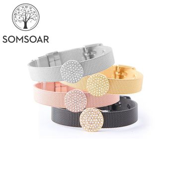 Dropshipping Somsoar Jewelry Mesh Charm Bracelet Set with Deluxe Slide Charms and Stainless Steel Bracelet & Bangles as Gift