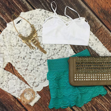 Lace Shorts: Jade