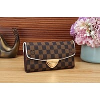 LV New Popular Women Leather Buckle Wallet Purse Coffee Tartan