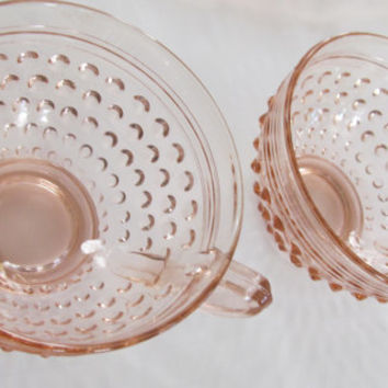 Pink Depression Glass Hobnail Tea Cups Pair Pink Depression Glass Cups Tea for 2 Pink Hobnail Glass cups Art Deco Dining 30s Glassware pink