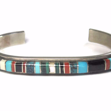 Navajo Raised Inlay Cuff Bracelet Sterling Bessie Manning 6 3/4 Inches